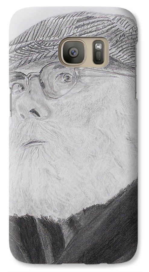 Portrait Galaxy S7 Case featuring the drawing Old Man With Beard by Quwatha Valentine