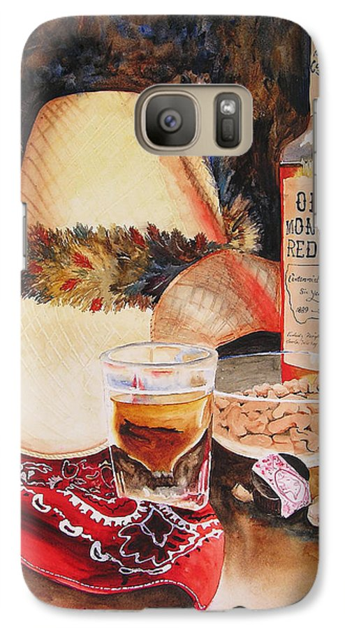Whiskey Galaxy S7 Case featuring the painting Old Montana Red Eye by Karen Stark