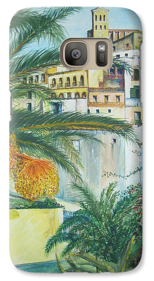 Ibiza Old Town Galaxy S7 Case featuring the painting Old Town Ibiza by Lizzy Forrester