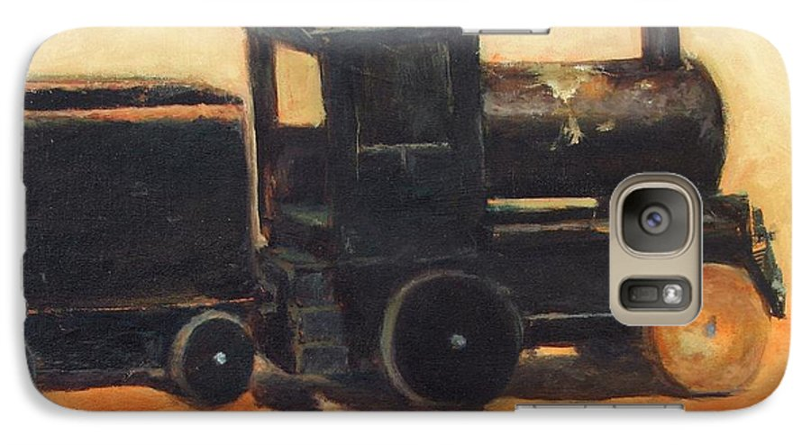 Trains Galaxy S7 Case featuring the painting Old Wood Toy Train by Chris Neil Smith