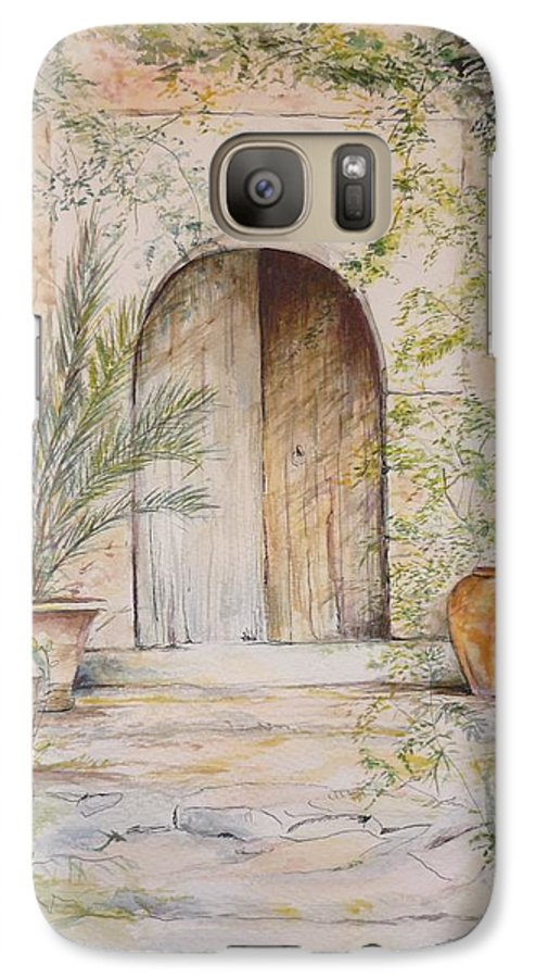 Door Galaxy S7 Case featuring the painting Old Wooden Door by Lizzy Forrester