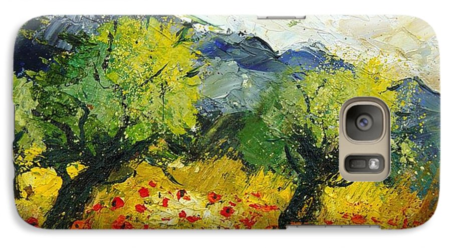 Flowers Galaxy S7 Case featuring the painting Olive Trees And Poppies by Pol Ledent
