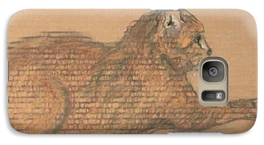 Cat Galaxy S7 Case featuring the drawing On Point by Cori Solomon
