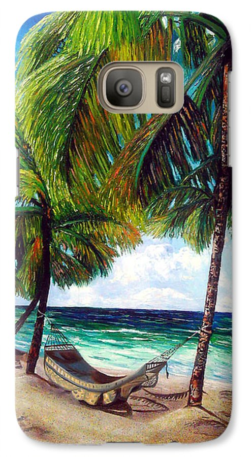 Beach Galaxy S7 Case featuring the painting On The Beach by Jose Manuel Abraham
