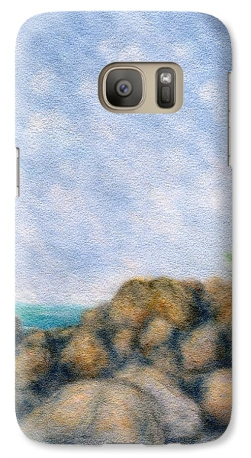 Rainbow Colors Pastel Galaxy S7 Case featuring the painting On The Rocks by Kenneth Grzesik