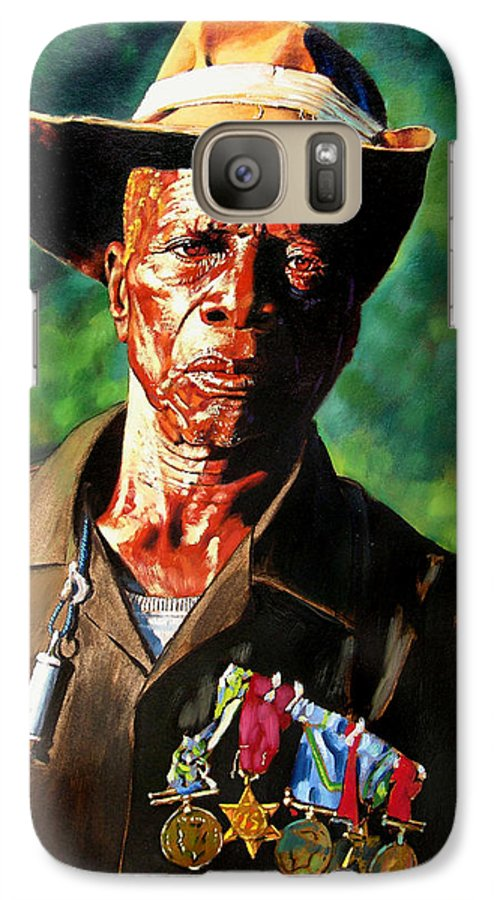 Black Soldier Galaxy S7 Case featuring the painting One Armed Soldier by John Lautermilch