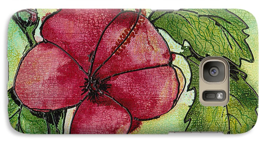 Flower Galaxy S7 Case featuring the painting One Pink Hibiscus by Susan Kubes