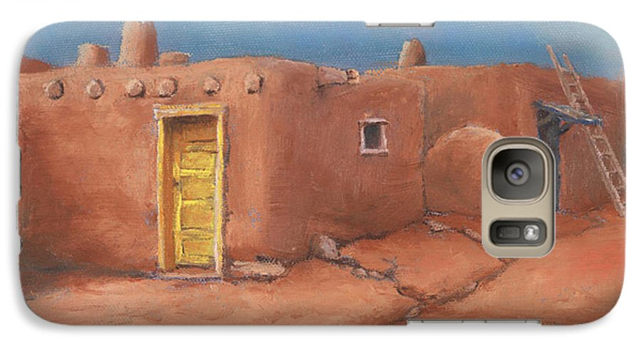 Taos Galaxy S7 Case featuring the painting One Yellow Door by Jerry McElroy