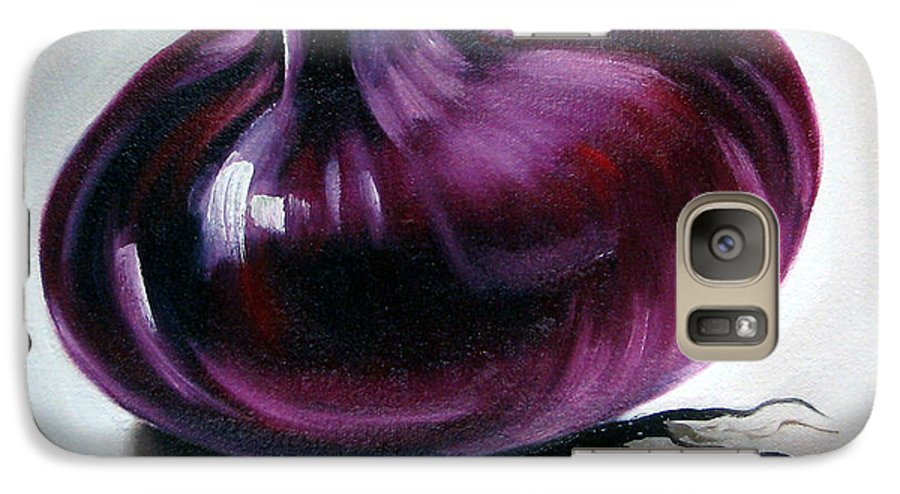 Kitchen Galaxy S7 Case featuring the painting Onion by Ilse Kleyn
