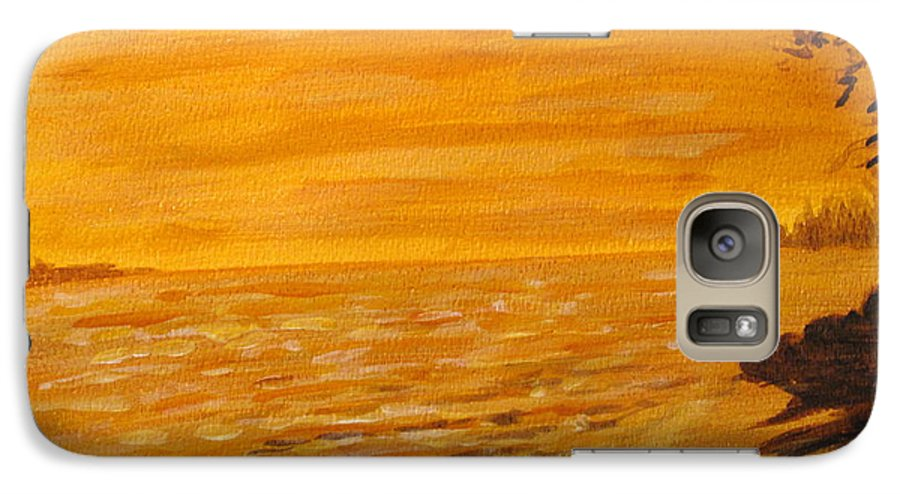 Ocean Galaxy S7 Case featuring the painting Orange Beach by Ian MacDonald