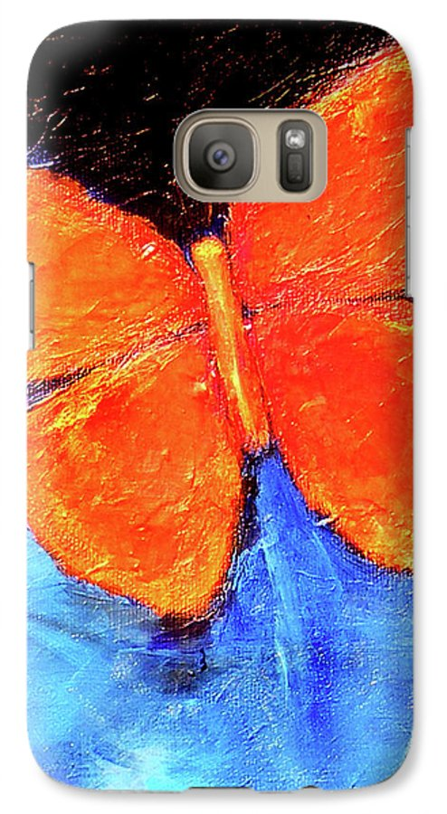 Butterfly Galaxy S7 Case featuring the painting Orange Butterfly by Noga Ami-rav