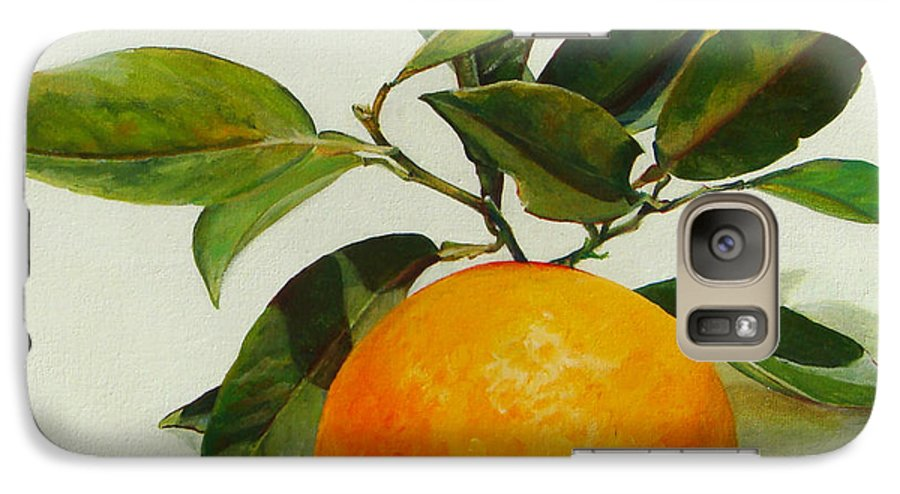 Floral Painting Galaxy S7 Case featuring the painting Orange Cueillie by Muriel Dolemieux