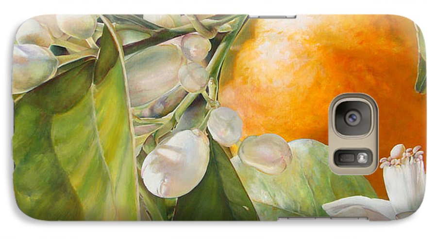 Floral Painting Galaxy S7 Case featuring the painting Orange Fleurie by Dolemieux