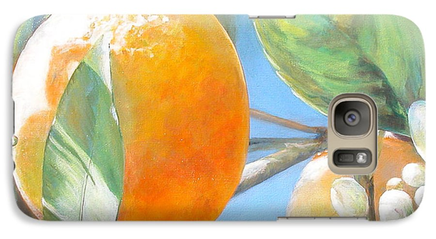 Floral Painting Galaxy S7 Case featuring the painting Orange by Muriel Dolemieux