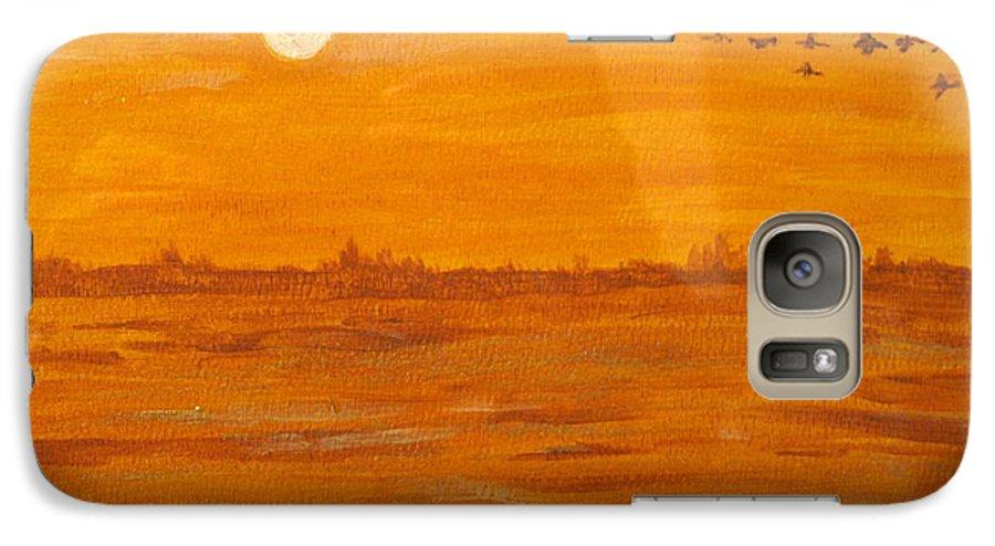 Orange Galaxy S7 Case featuring the painting Orange Ocean by Ian MacDonald