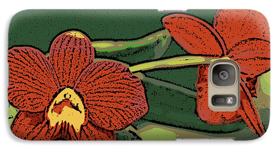 Orchid Galaxy S7 Case featuring the photograph Orange Orchids by Ann Tracy