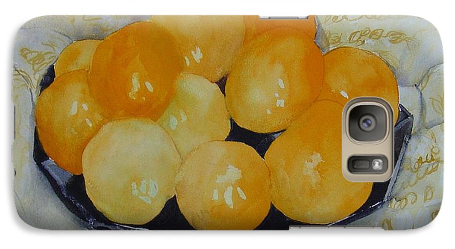 Still Life Watercolor Original Leilaatkinson Oranges Galaxy S7 Case featuring the painting Oranges by Leila Atkinson