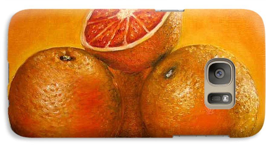 Oranges Galaxy S7 Case featuring the painting Oranges Original Oil Painting by Natalja Picugina