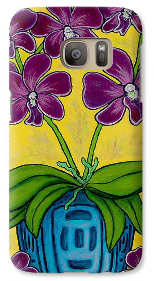 Orchids Galaxy S7 Case featuring the painting Orchid Delight by Lisa Lorenz