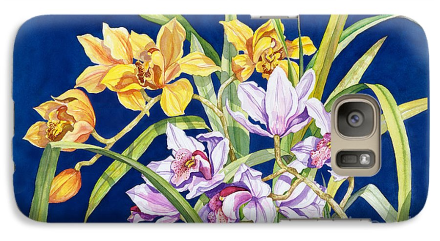 Orchids Galaxy S7 Case featuring the painting Orchids In Blue by Lucy Arnold