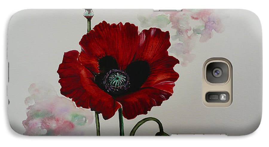 Floral Poppy Red Flower Galaxy S7 Case featuring the painting Oriental Poppy by Karin Dawn Kelshall- Best