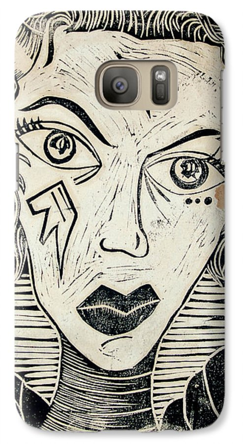 Block Print Galaxy S7 Case featuring the print Original Devil Block Print by Thomas Valentine