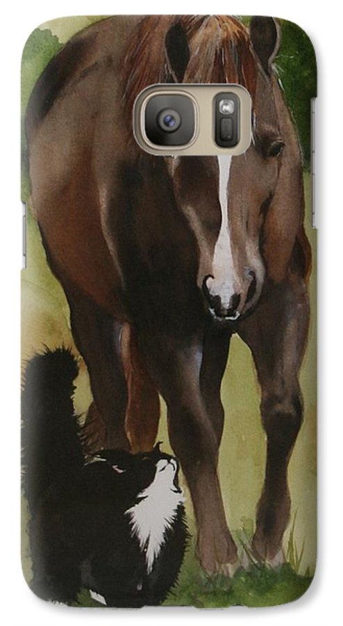 Horse Galaxy S7 Case featuring the painting Oscar And Friend by Jean Blackmer