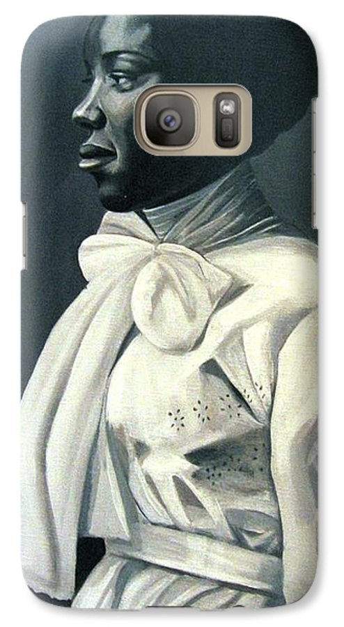 Portrait Galaxy S7 Case featuring the painting Out Of The Box Woman In Large White Bow by Joyce Owens