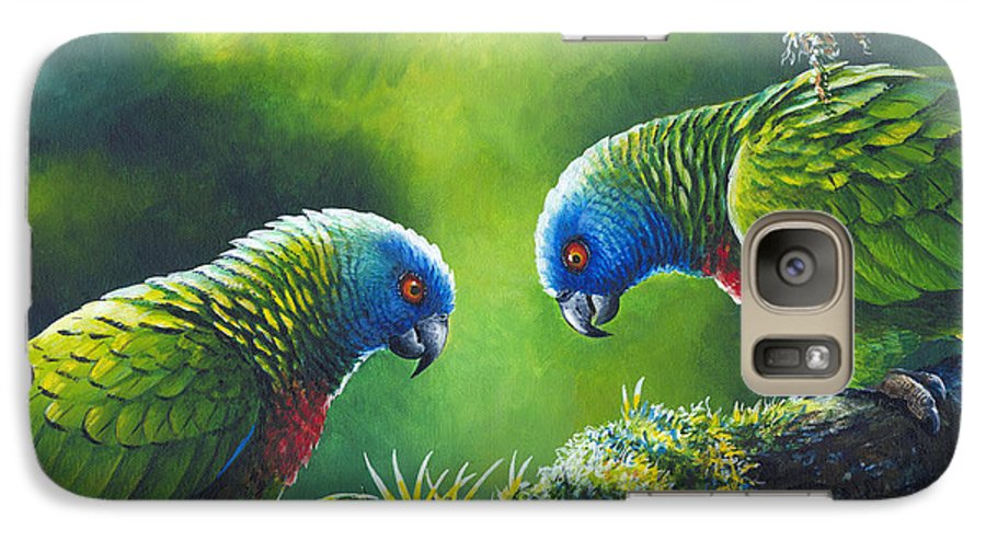 Chris Cox Galaxy S7 Case featuring the painting Out On A Limb - St. Lucia Parrots by Christopher Cox