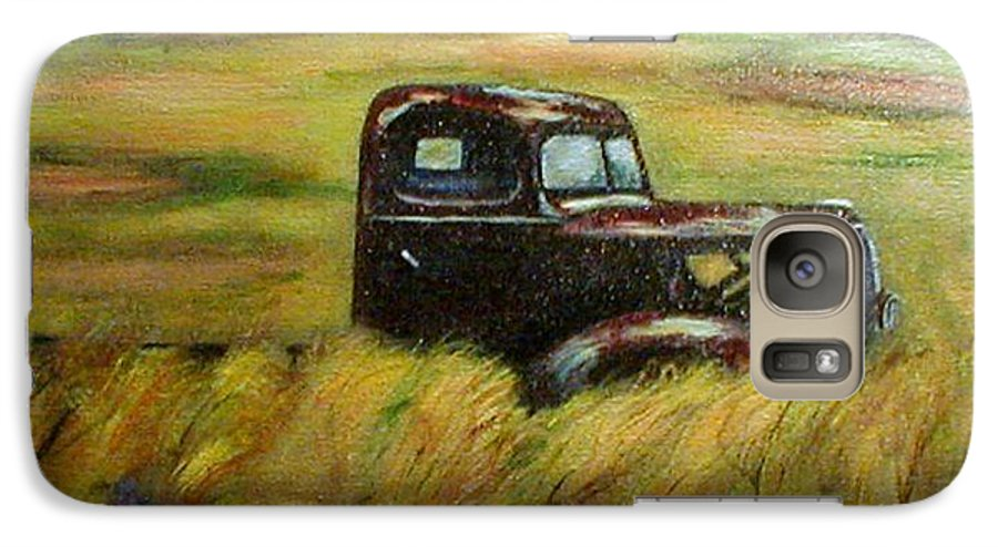 Vintage Truck Galaxy S7 Case featuring the painting Out To Pasture by Gail Kirtz