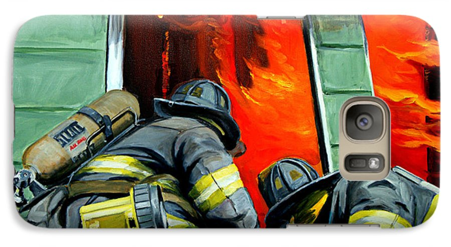 Firefighting Galaxy S7 Case featuring the painting Outside Roof by Paul Walsh