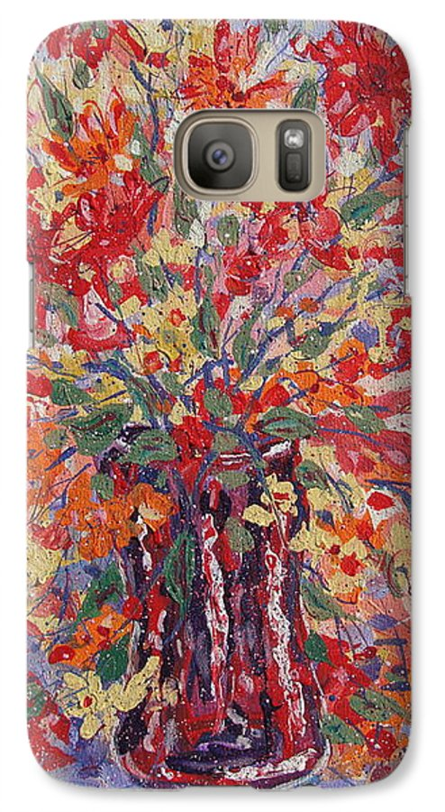 Painting Galaxy S7 Case featuring the painting Overflowing Flowers. by Leonard Holland