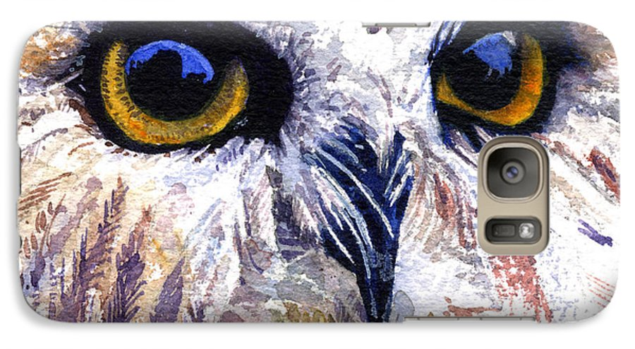 Eye Galaxy S7 Case featuring the painting Owl by John D Benson