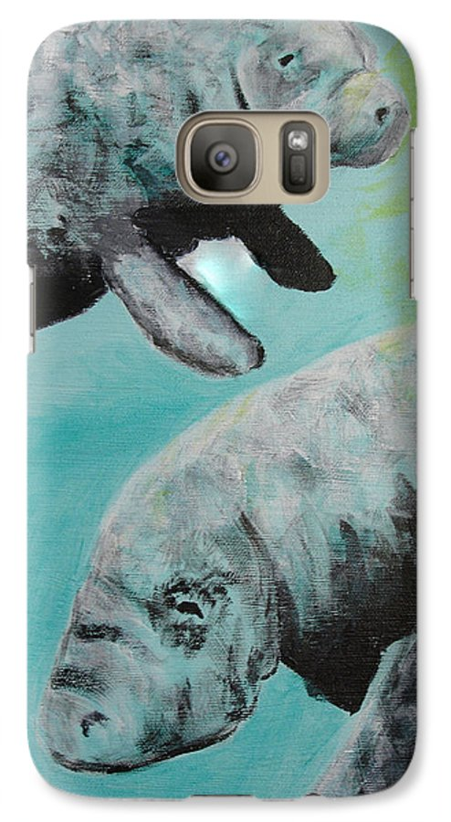 Florida Galaxy S7 Case featuring the painting Pair Of Florida Manatees by Susan Kubes