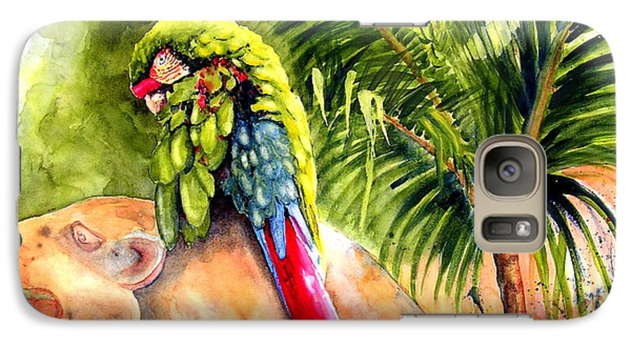 Parrot Galaxy S7 Case featuring the painting Pajaro by Karen Stark