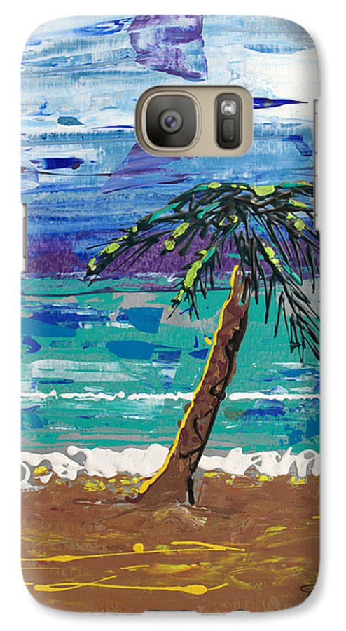 Palm Tree Galaxy S7 Case featuring the painting Palm Beach by J R Seymour