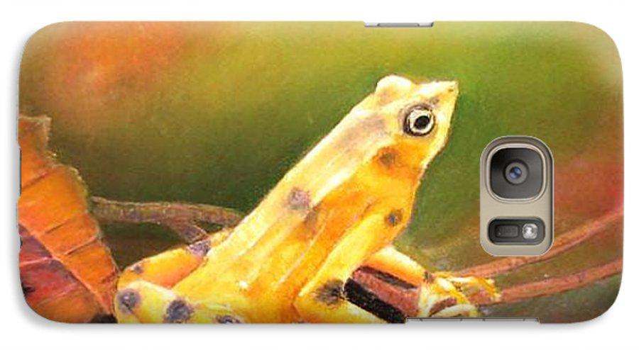 Endangered Galaxy S7 Case featuring the painting Panamenian Golden Frog by Ceci Watson