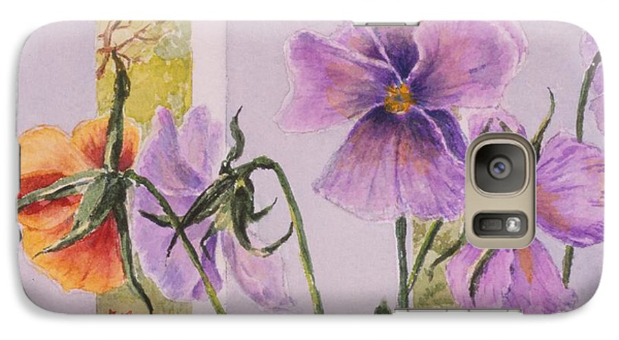 Florals Galaxy S7 Case featuring the painting Pansies On My Porch by Mary Ellen Mueller Legault
