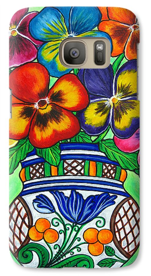 Flower Galaxy S7 Case featuring the painting Pansy Parade by Lisa Lorenz
