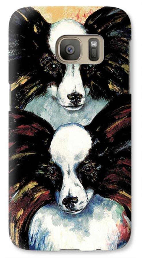 Papillon Galaxy S7 Case featuring the painting Papillon De Mardi Gras by Kathleen Sepulveda