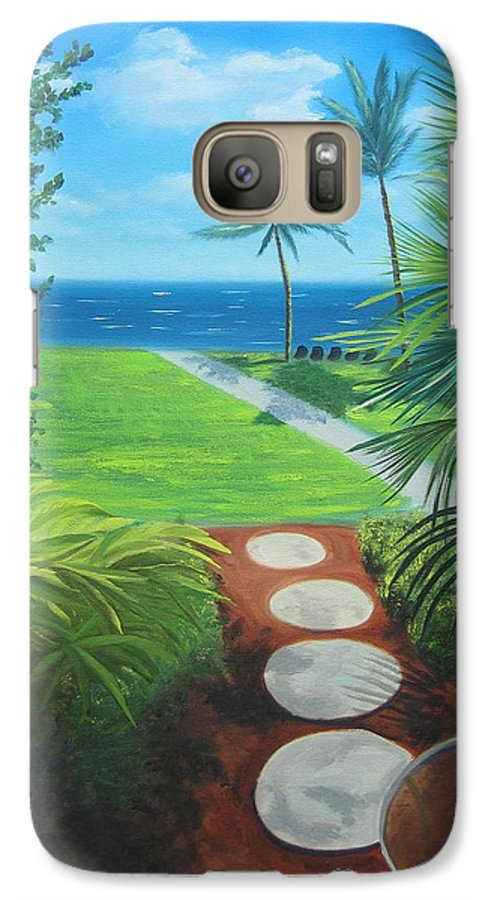Seascape Galaxy S7 Case featuring the painting Paradise Beckons by Lea Novak