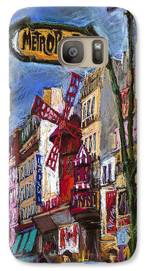 Cityscape Galaxy S7 Case featuring the painting Paris Mulen Rouge by Yuriy Shevchuk