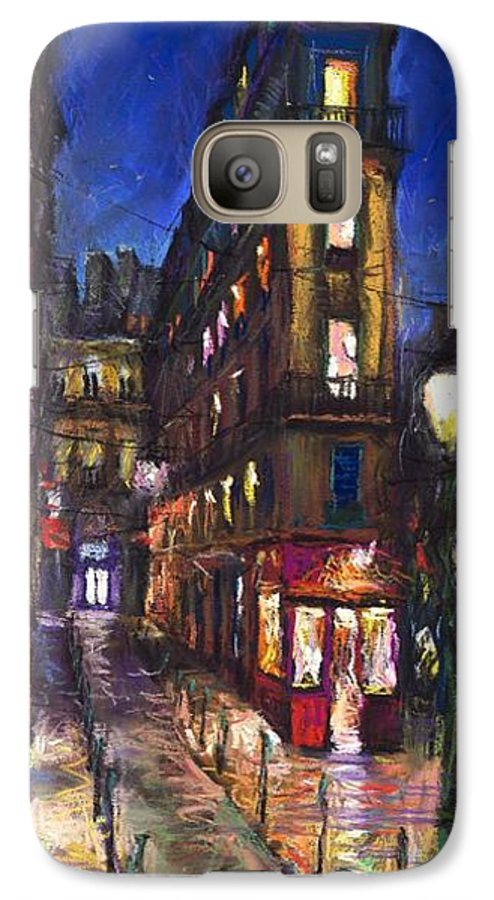 Landscape Galaxy S7 Case featuring the painting Paris Old Street by Yuriy Shevchuk