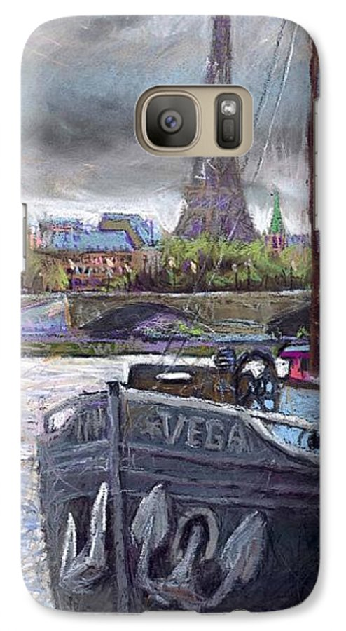 Pastel Galaxy S7 Case featuring the painting Paris Pont Alexandre IIi by Yuriy Shevchuk