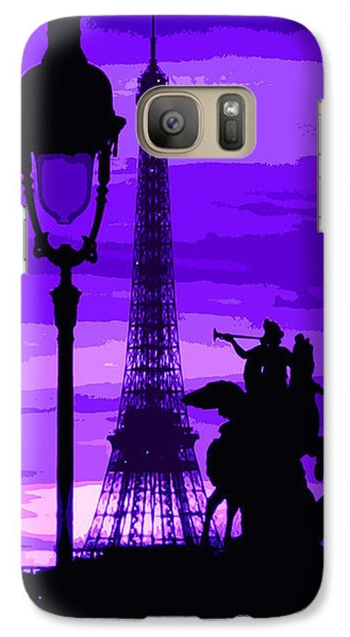Paris Galaxy S7 Case featuring the photograph Paris Tour Eiffel Violet by Yuriy Shevchuk