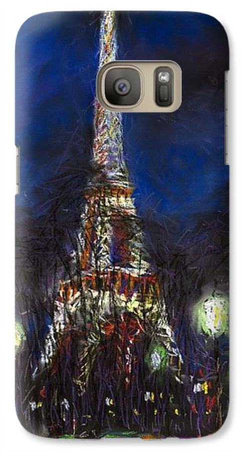 Pastel Galaxy S7 Case featuring the painting Paris Tour Eiffel by Yuriy Shevchuk