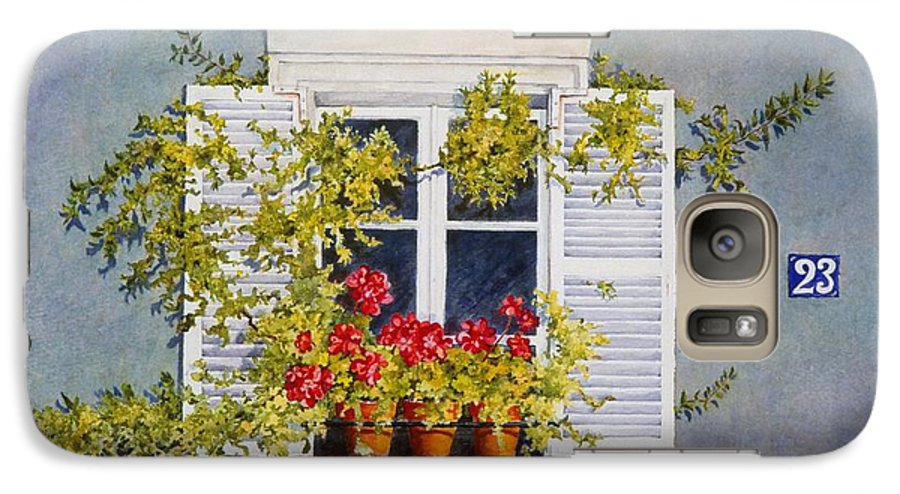 France Galaxy S7 Case featuring the painting Parisian Window by Mary Ellen Mueller Legault