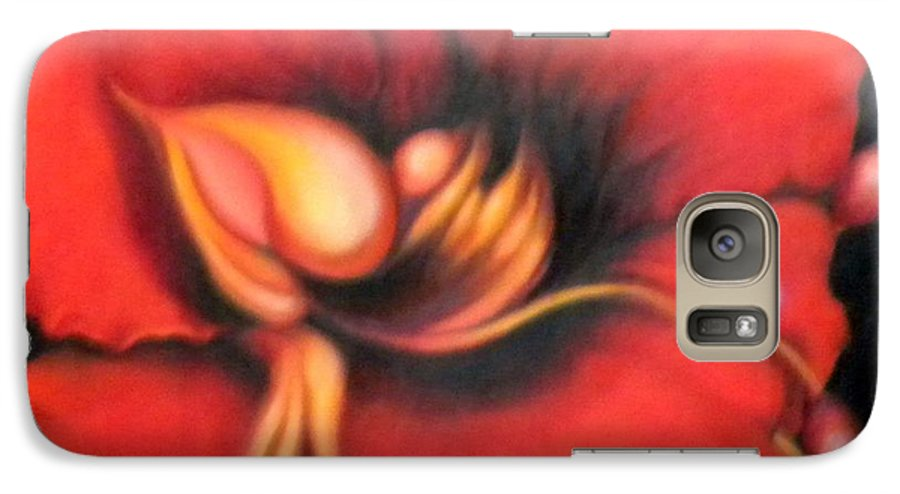 Red Surreal Bloom Artwork Galaxy S7 Case featuring the painting Passion Flower by Jordana Sands