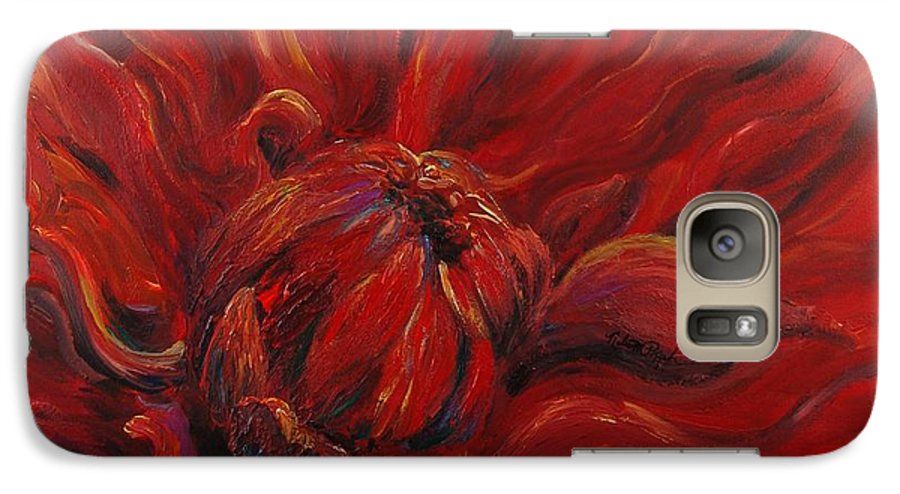 Red Galaxy S7 Case featuring the painting Passion II by Nadine Rippelmeyer