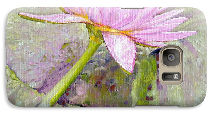 Water Lily Galaxy S7 Case featuring the painting Pastel Beauty by John Lautermilch